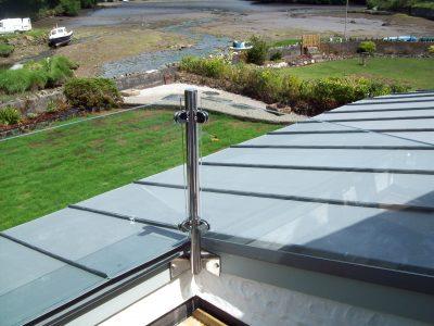 glass balcony and backyard