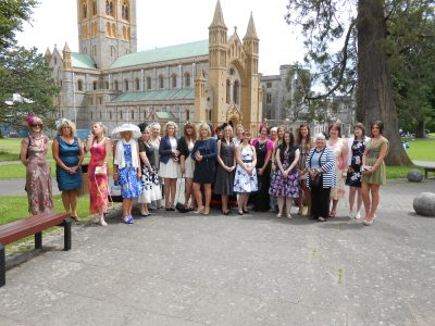 ladies outside of church building