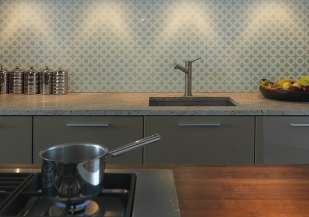 patterned glass splashback kitchen