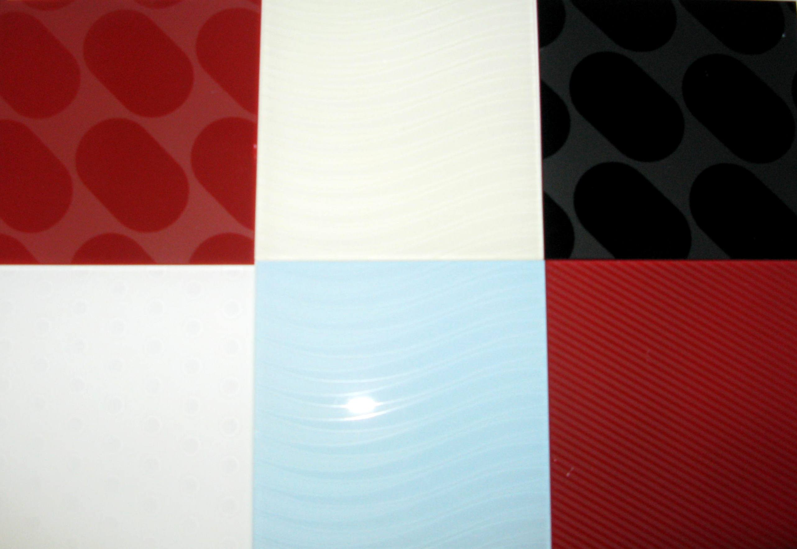 six patterned tiled glass squares