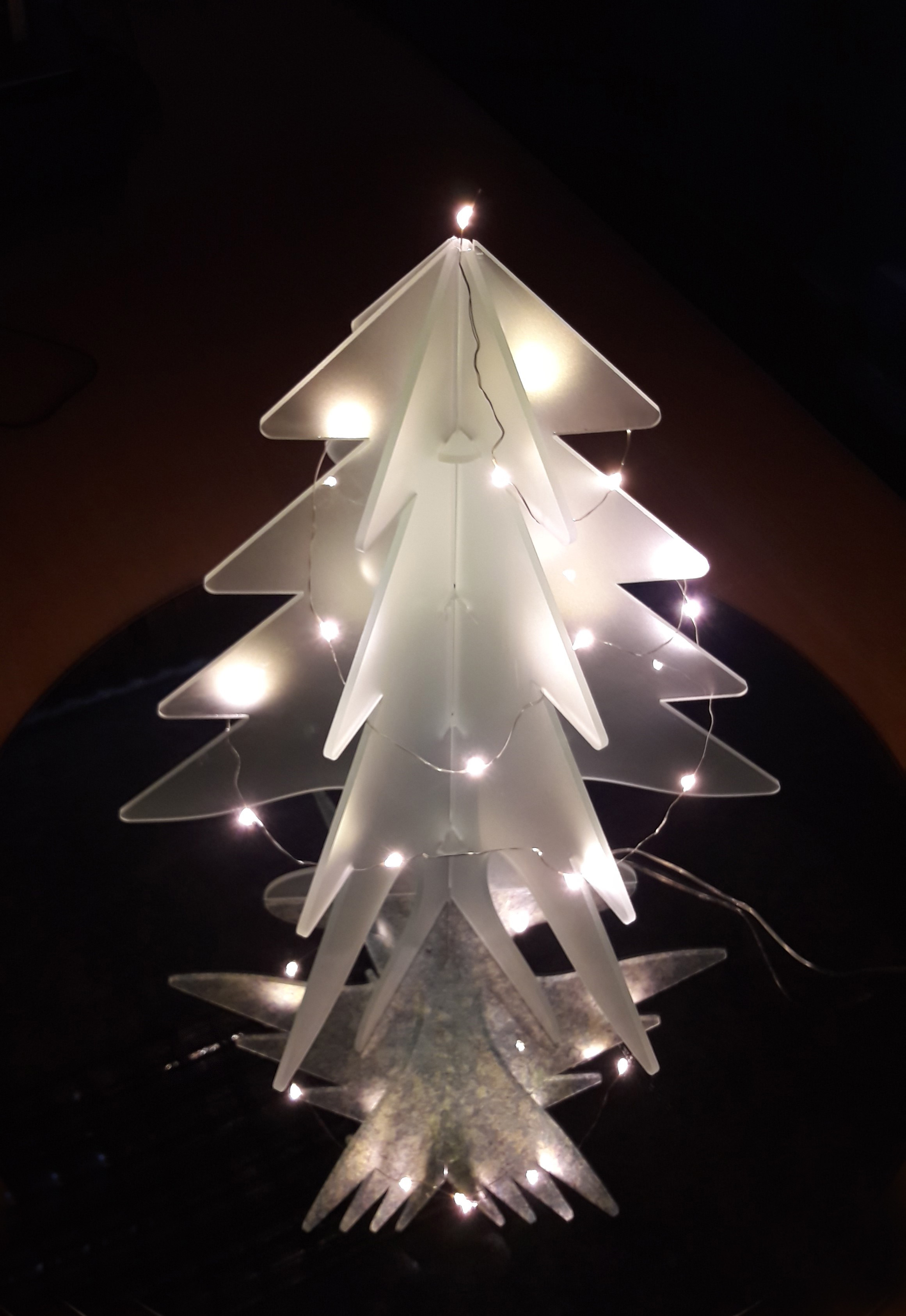white glass christmas tree