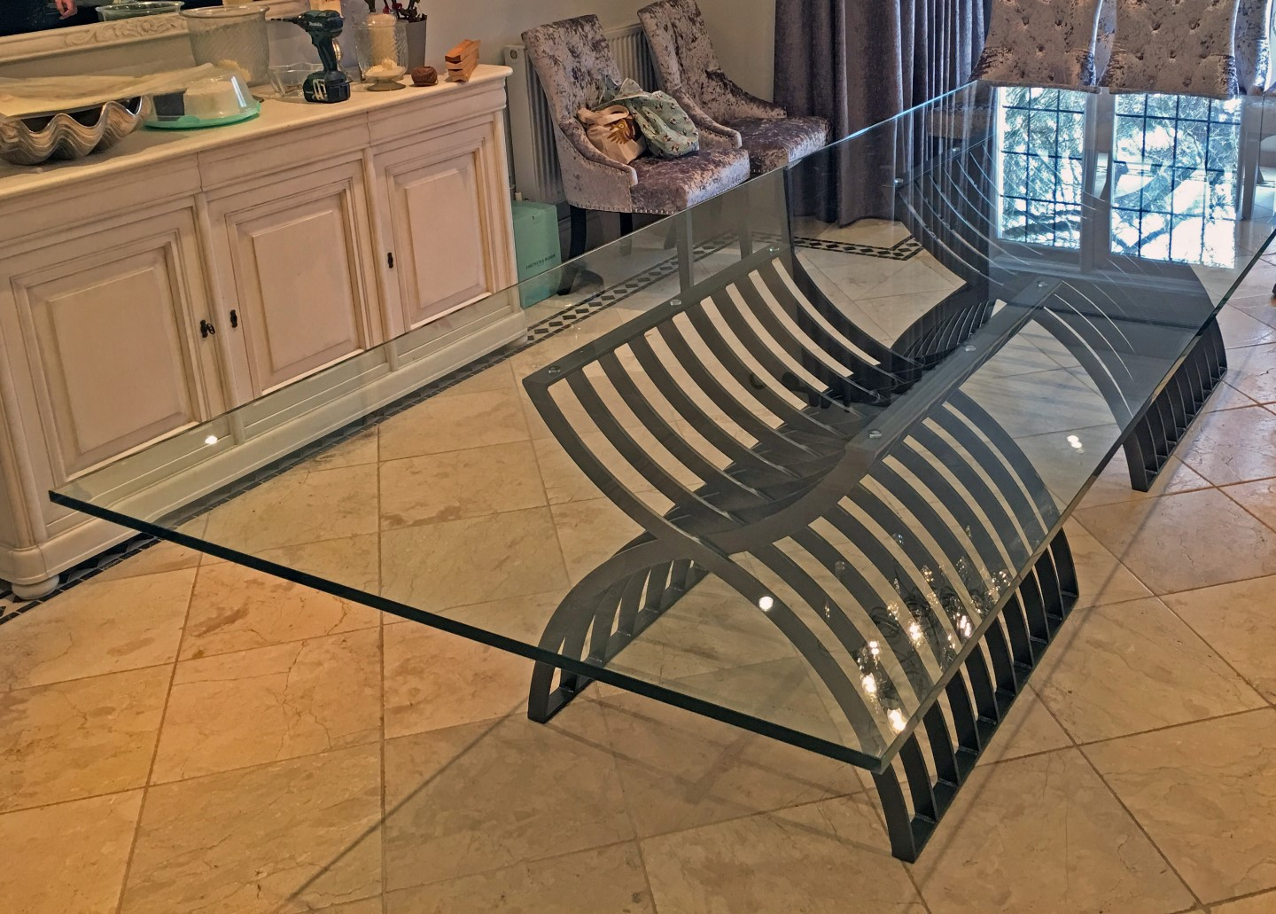 large glass table in kitchen