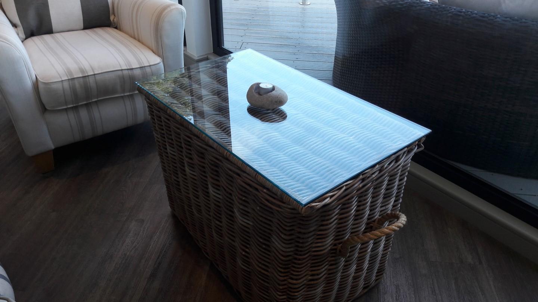 basket and glass tabletop