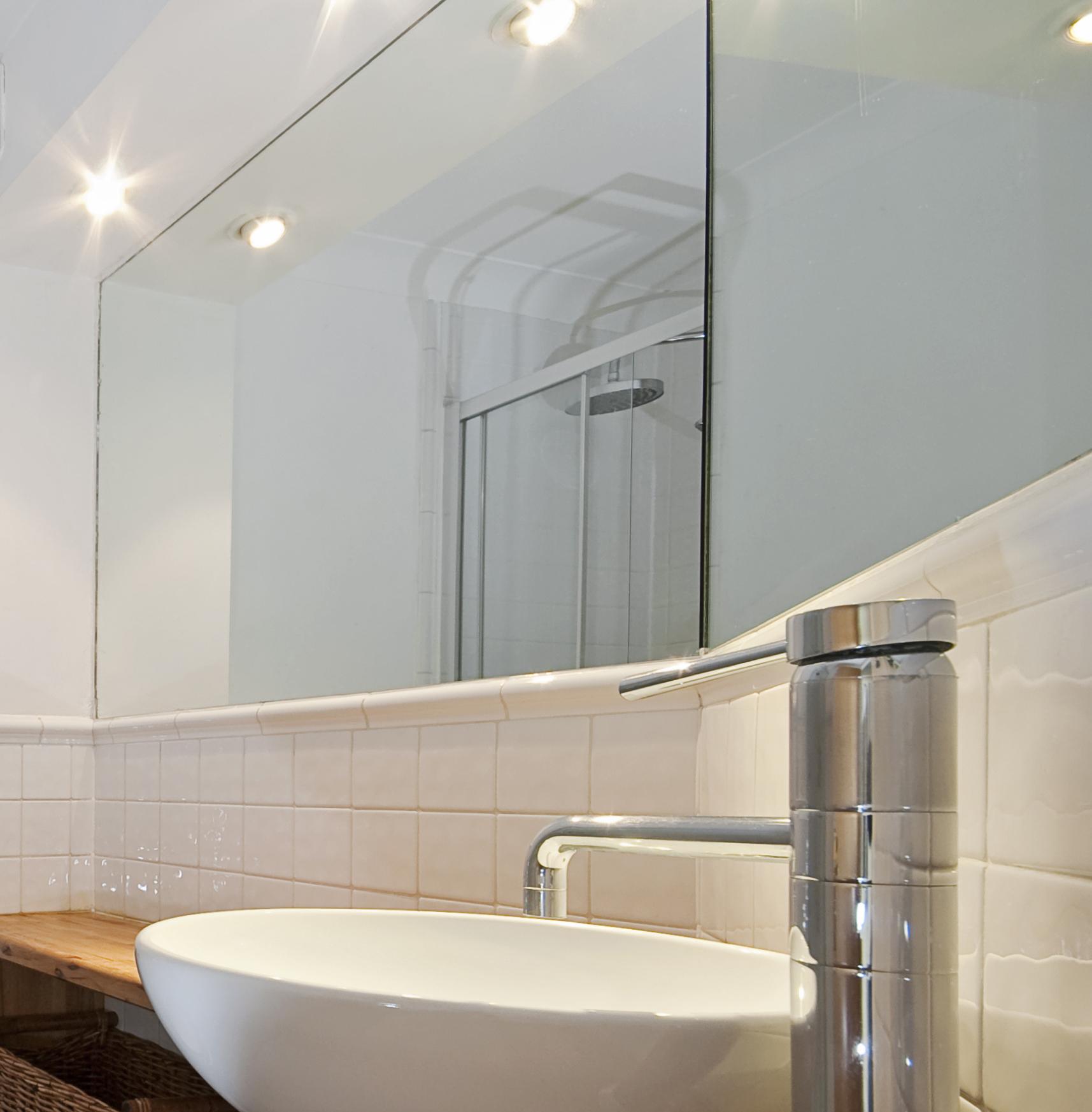 bathroom mirror and basin