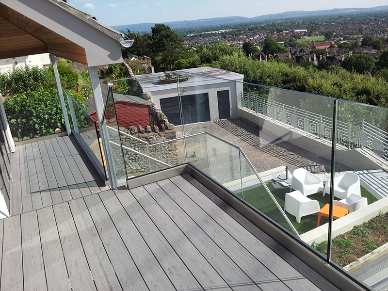 outside deck with glass balustrade and view