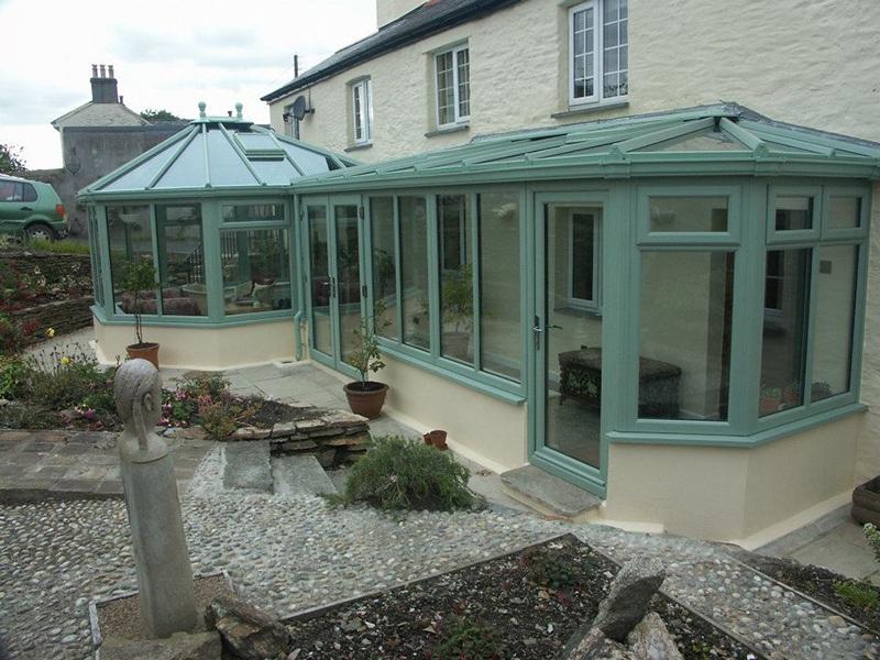 blue framed glass conservatory