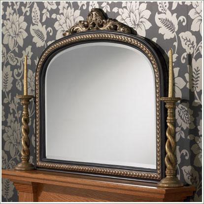 mirror on mantelpiece