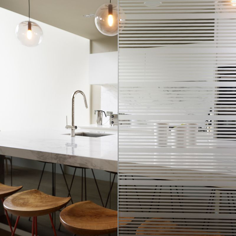 lined glass and kitchen