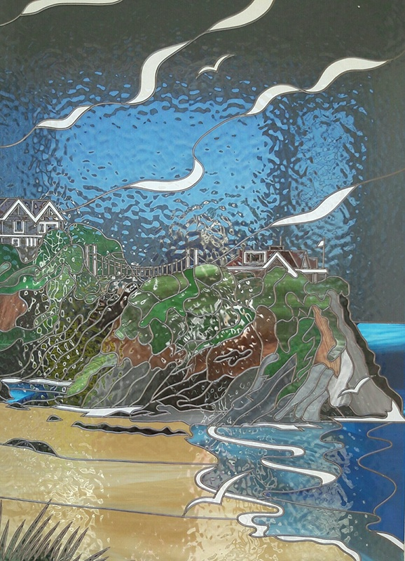 beach landscape stained glass