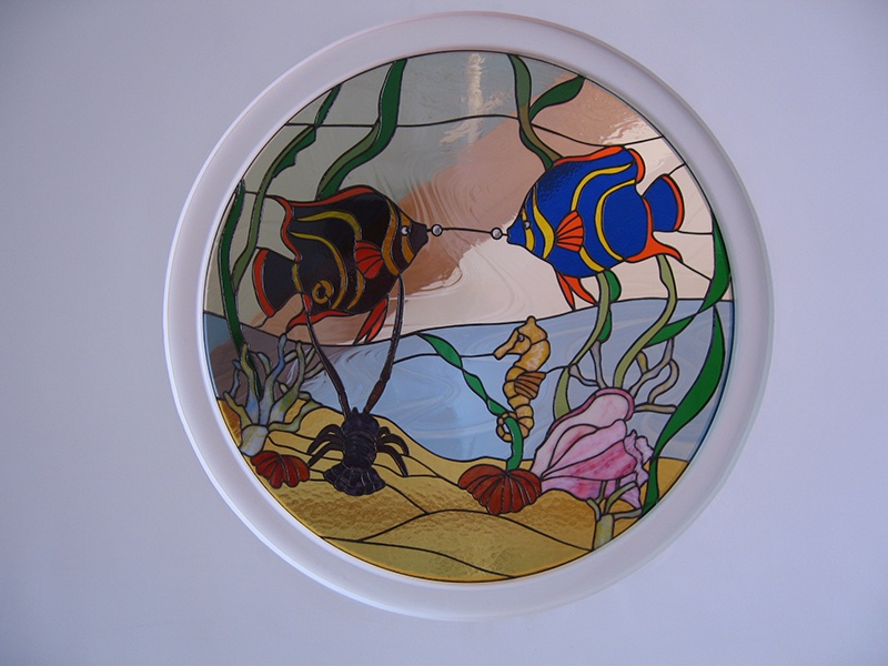 fish stained glass feature