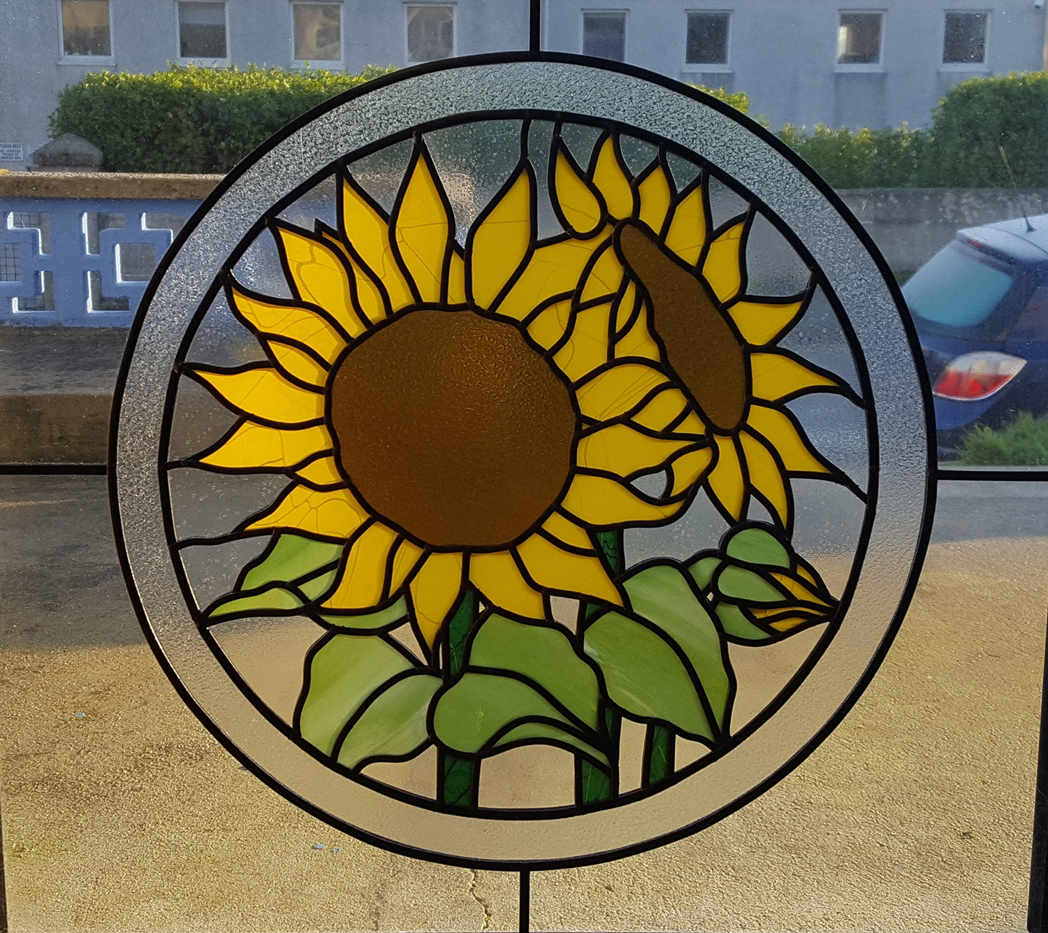 stained glass sunflower feature