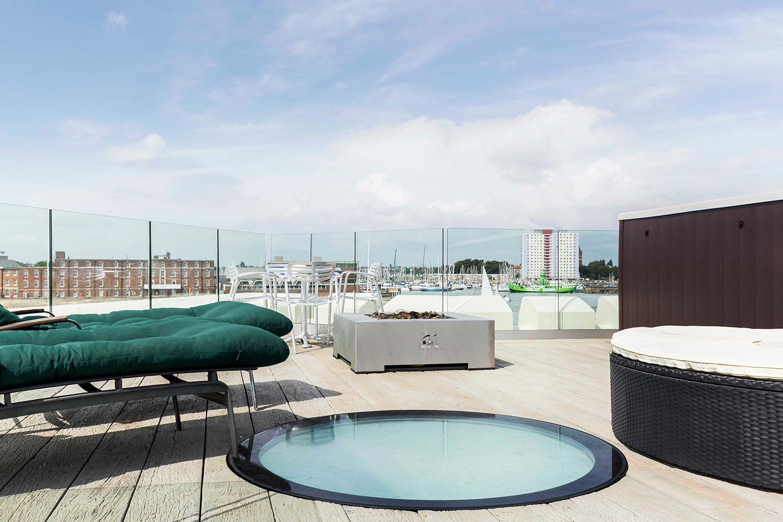 rooftop floor glass patio view
