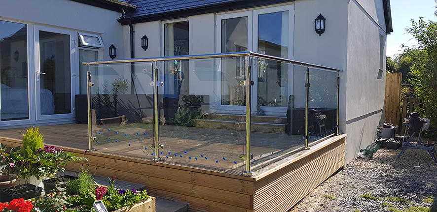 glass balustrade in garden