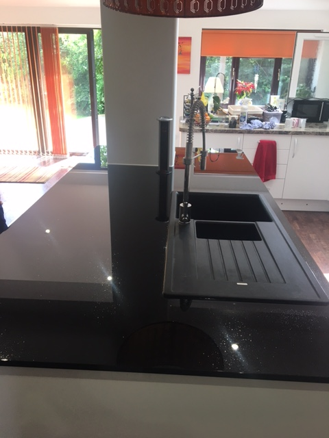 Glass Black Sparkle Worktop