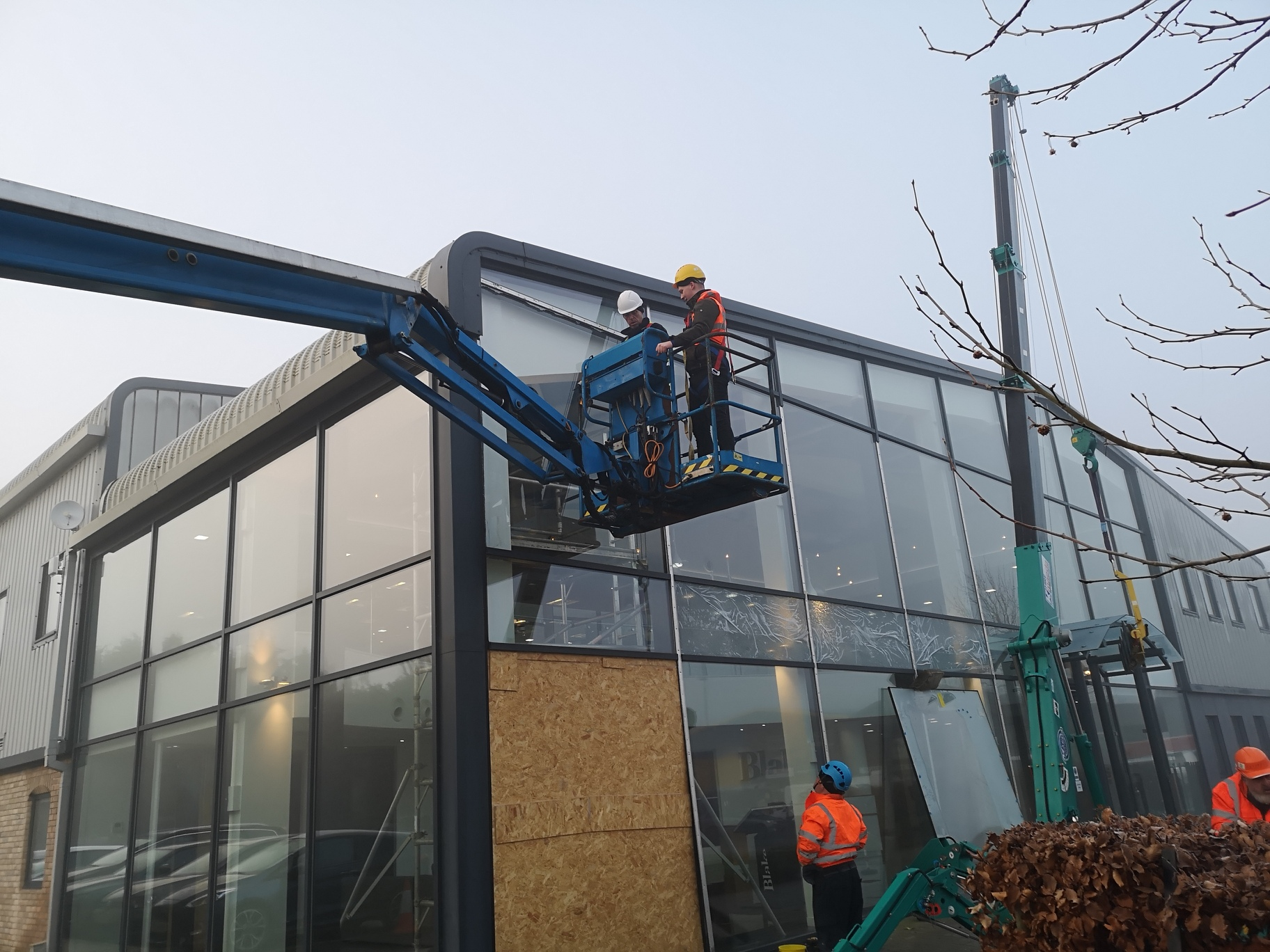 Maneuvering the glass into place