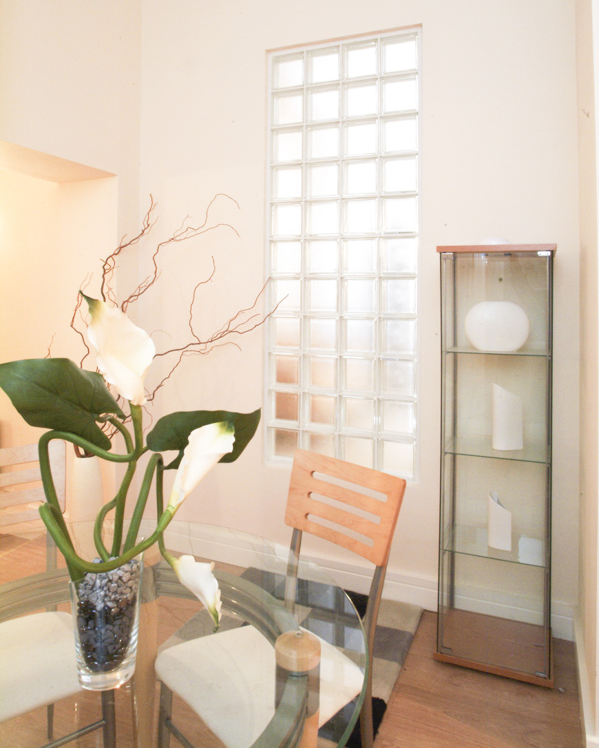 Glass Block wall with glass table and cabinet