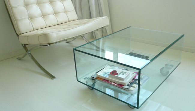UV bonded cube Glass table